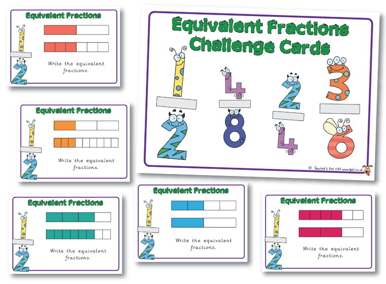 Equivalent Fractions Challenge Cards Fractions Activities