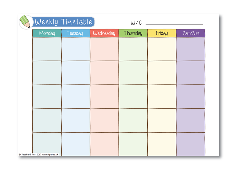 blank time management schedule