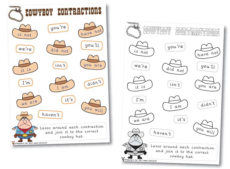 fun activity to show children's understanding of contractions. Let ...
