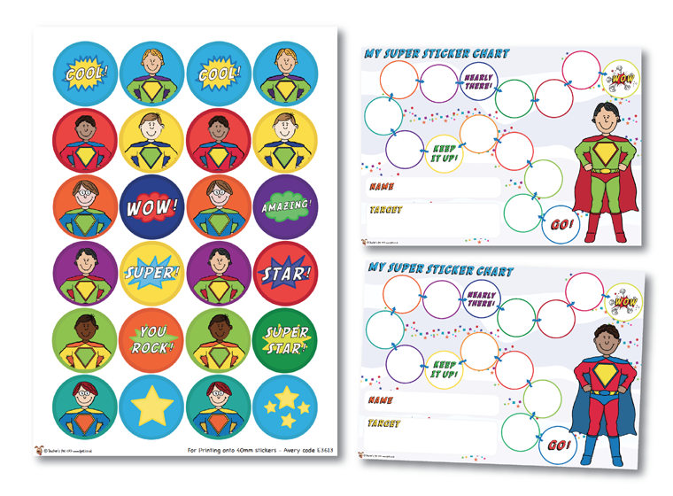 Superhero Sticker Charts