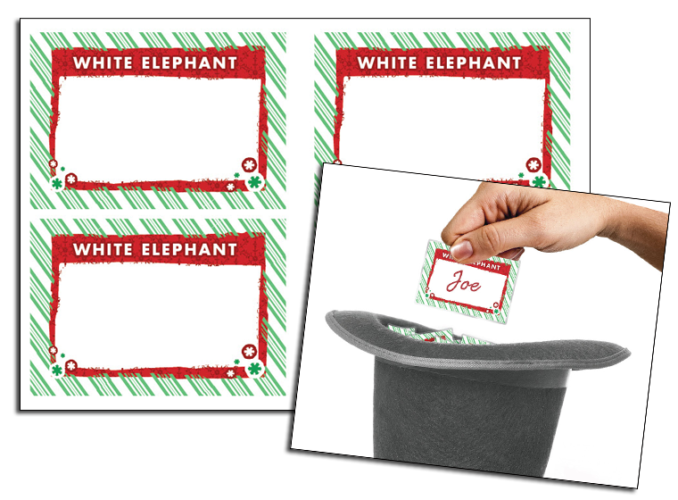Christmas White Elephant Gift Tags