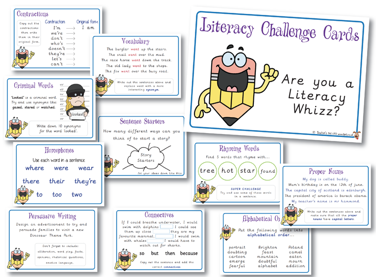 Literacy Challenge Cards