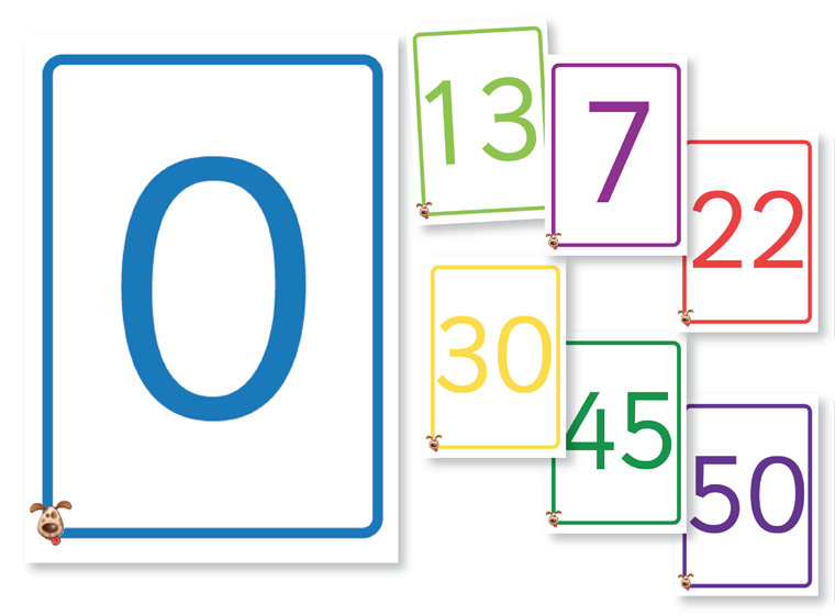 Colourful Number Cards 0-50