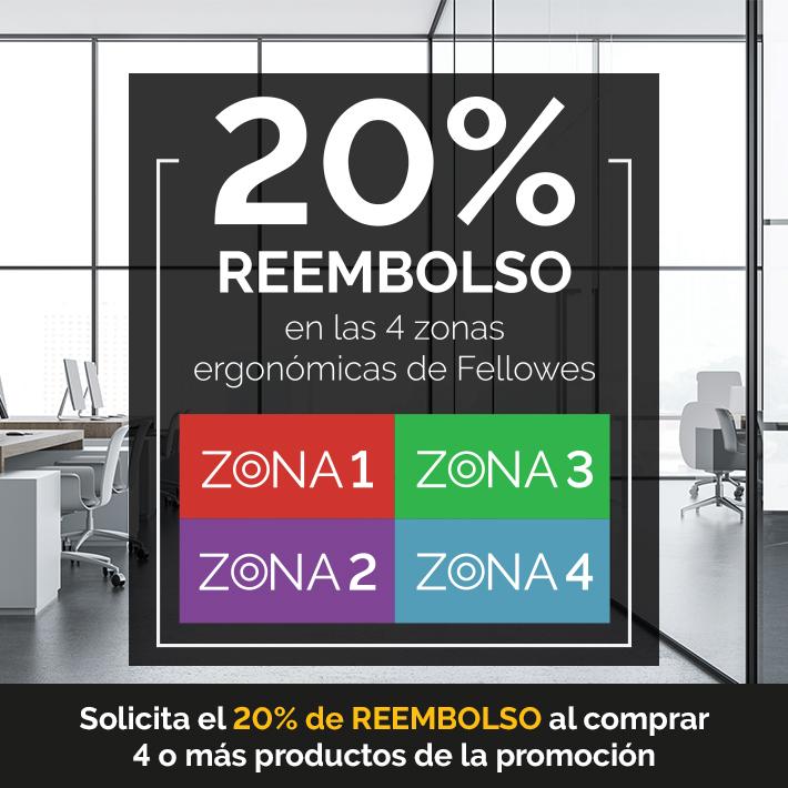 20% Reembolso en las 4 zonas ergonómicas de Fellowes